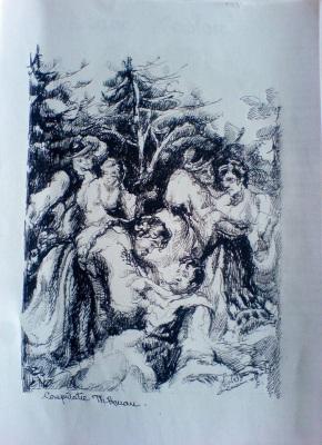 Schita Peisaj – Creion (Violeta Lecca Balan, carton alb, pix negru)