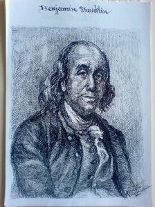 Schita - Portret Benjamin Franklin (Violeta Lecca Balan, carton alb, pix negru)
