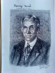 Schita - Portret Henry Ford (Violeta Lecca Balan, carton alb, pix negru)