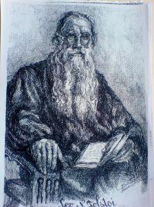 Schita - Portret Lev Tolstoi (Violeta Lecca Balan, carton alb, pix negru)
