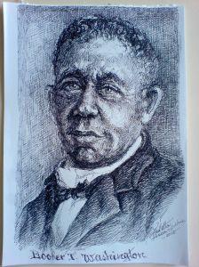 Schita - Portret Booker T. Washington (Violeta Lecca Balan, carton alb, pix negru)