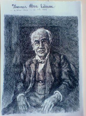 Schita - Portret Thomas Edison (Violeta Lecca Balan, carton alb, pix negru)