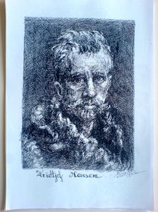 Schita - Portret Fridtjof Narsen (Violeta Lecca Balan, carton alb, pix negru)