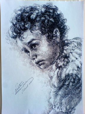 Schita - Copil Portret (Violeta Lecca Balan, carton alb, pix negru)