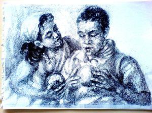Schita – Protrete Copii (Violeta Lecca Balan, carton alb, pix negru)