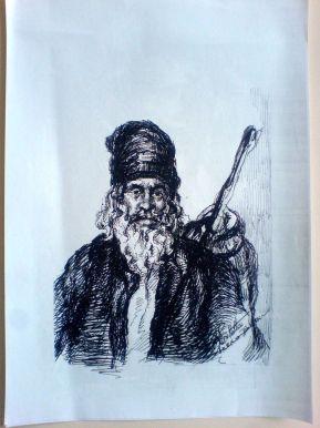 Schita – Protret Menestrel (Violeta Lecca Balan, carton alb, pix negru)