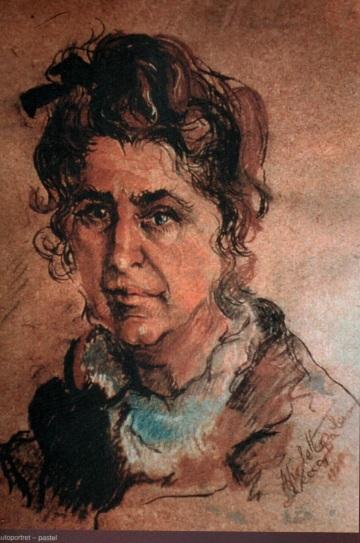Autoportret - Violeta Lecca Balan (pastel, pe carton alb)
