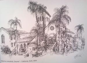 Biserica metodista - Violeta Lecca Balan (tus, pe carton alb)