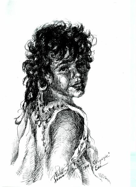 Copila - Violeta Lecca Balan (tus, pe carton alb)