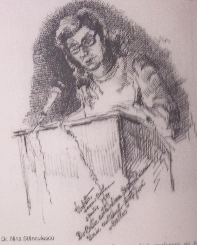 dr.Nina Stanculescu (critic de arta) - Violeta Lecca Balan (schita, creion, pe hartie)