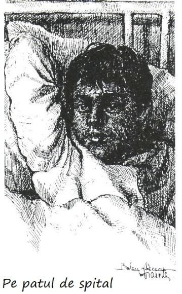 Pe patul de spital - Violeta Lecca Balan (tus, pe carton alb)
