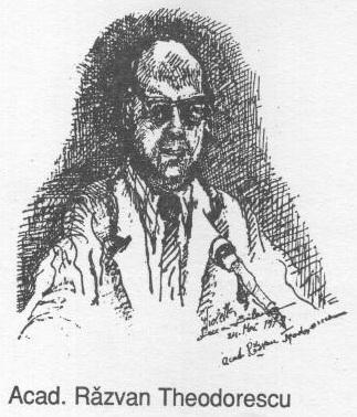 Acad Razvan Teodorescu (schita tus negru pe carton)