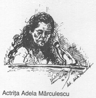 Actrita Adela Marculescu (schita tus negru pe carton)