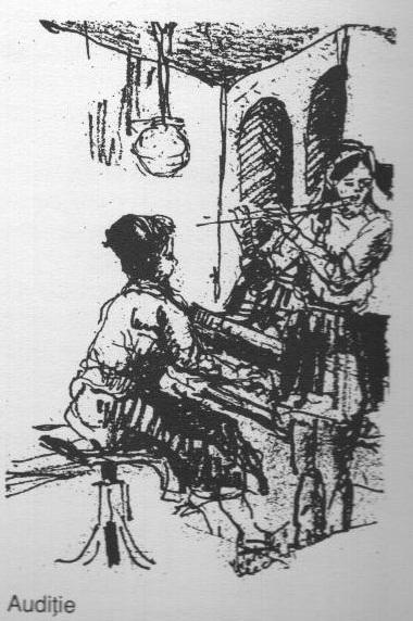 Auditie (schita creion) - Violeta Lecca Balan