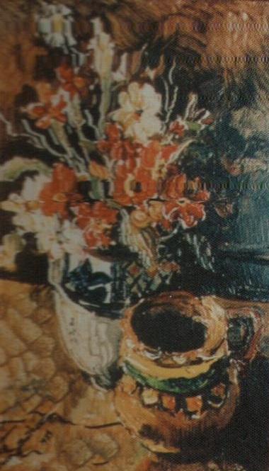 Ceramica si flori (ulei pe carton)