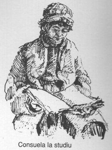 Consuela la studiu (schita creion pe carton alb) - Violeta Lecca Balan