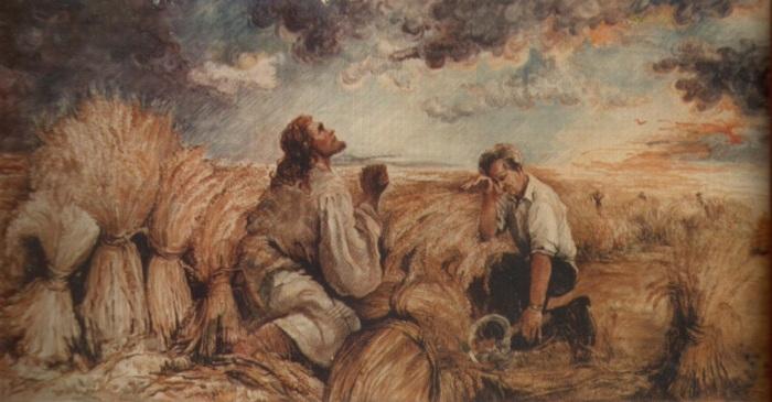 Rugati dar pe Domnul secerisului (tempera pe carton)