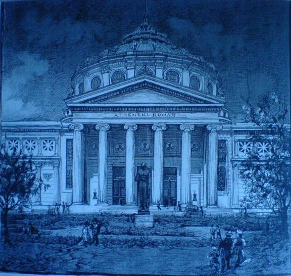 Ateneul roman  (Violeta Lecca Balan, schita tus negru pe carton alb)
