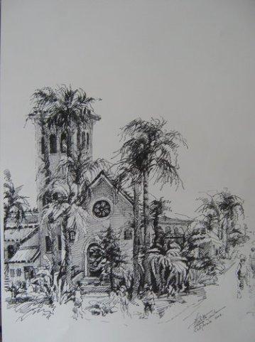 Biserica in California, Violeta Lecca Balan - grafica