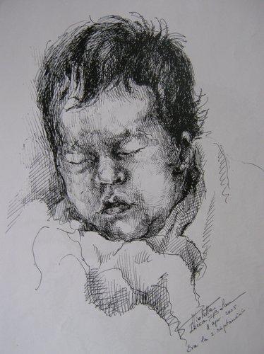 Copil dormind, Violeta Lecca Balan - grafica