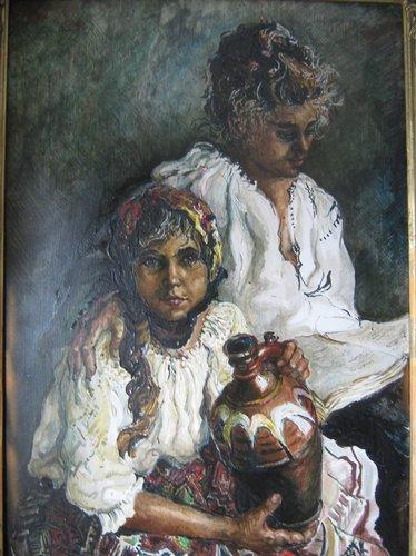 Doua surori (Violeta Lecca Balan - acuarela)