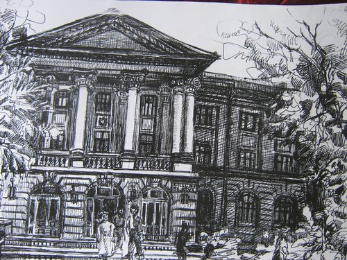 Liceul Sf. Sava (schita, grafica tus pe carton alb)