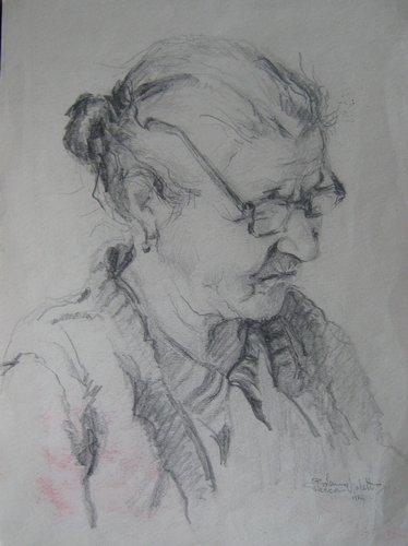 Mama scriitorului Stan Velea, desen in carbune