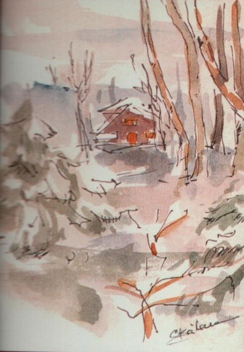 Schita de iarna - Corina-Ligia, fiica artistei (culori de apa)