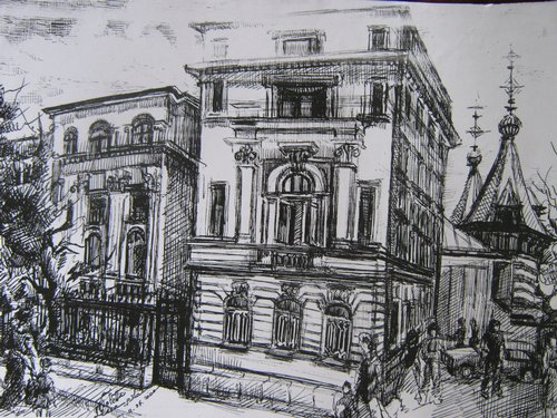 Spitalul Carol Davila (schita tus pe carton alb)