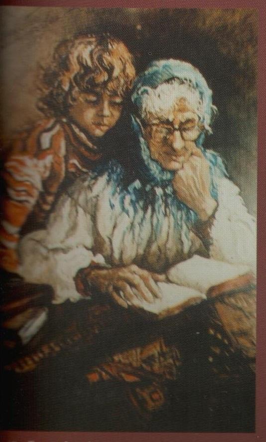 La studiu cu bunica (tempera pe carton panzat)