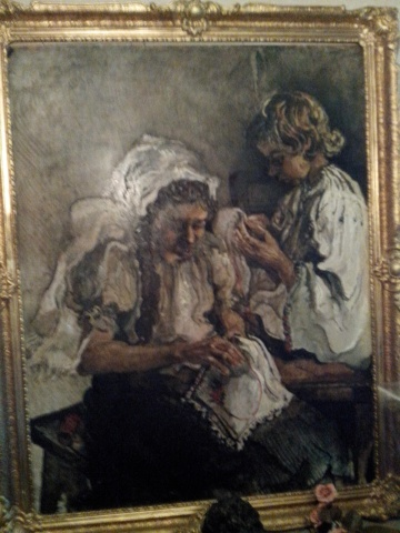 Autoportret, pictura, ulei, pe panza, maestra Violeta, Lecca, Balan