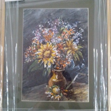 Buchet de crizanteme, acuarela, maestra Violeta, Lecca, Balan