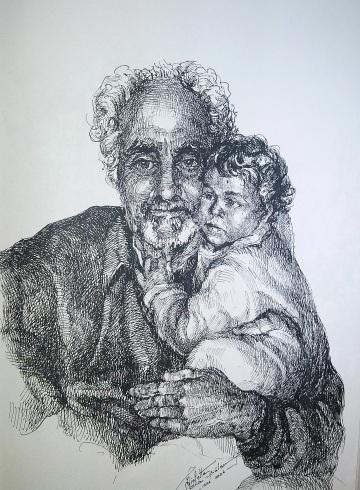 Bunicul, schita carbune, maestra, Violeta, Lecca, Balan, artista