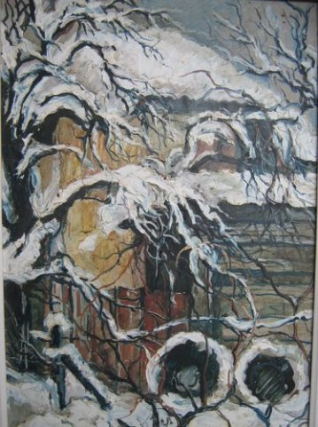 Iarna la margine, acuarela,Violeta, Lecca, Balan, artista