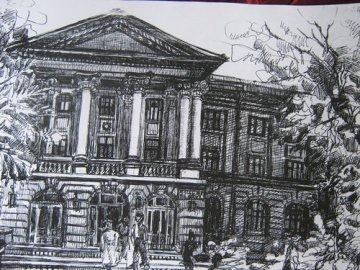 Liceul Sf. Sava (schita, grafica tus pe carton alb), maestra, Violeta, Lecca, Balan