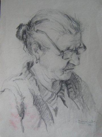 Mama scriitorului Stan Velea, desen in carbune, maestra, Violeta, Lecca, Balan