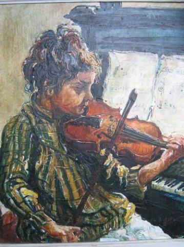 Micuta violonista 64x52cm, ulei pe carton, maestra, Violeta, Lecca, Balan