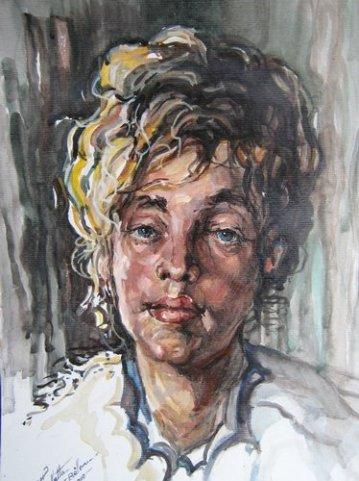 Portret de fata (acuarela), maestra, Violeta, Lecca, Balan, artista