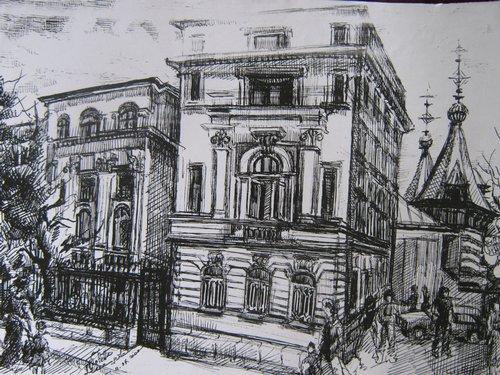 Spitalul Carol Davila (schita tus pe carton alb), maestra, Violeta, Lecca, Balan, artista