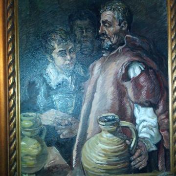 Tatal, pictura, ulei, pe panza, maestra Violeta, Lecca, Balan